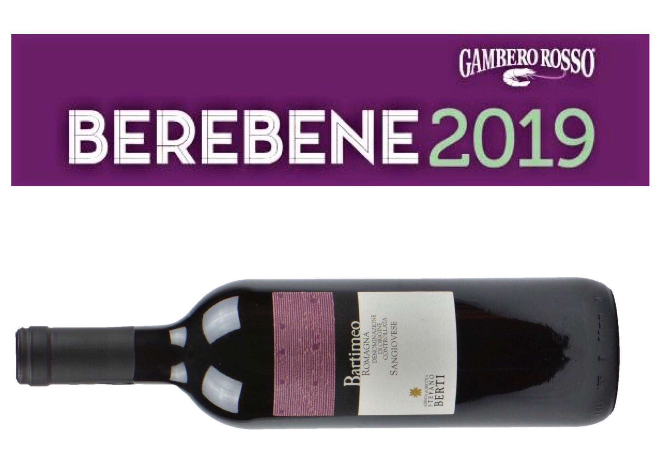 Il Romagna Sangiovese DOC Bartimeo premiato dalla guida 2019 Berebene del Gambero Rosso