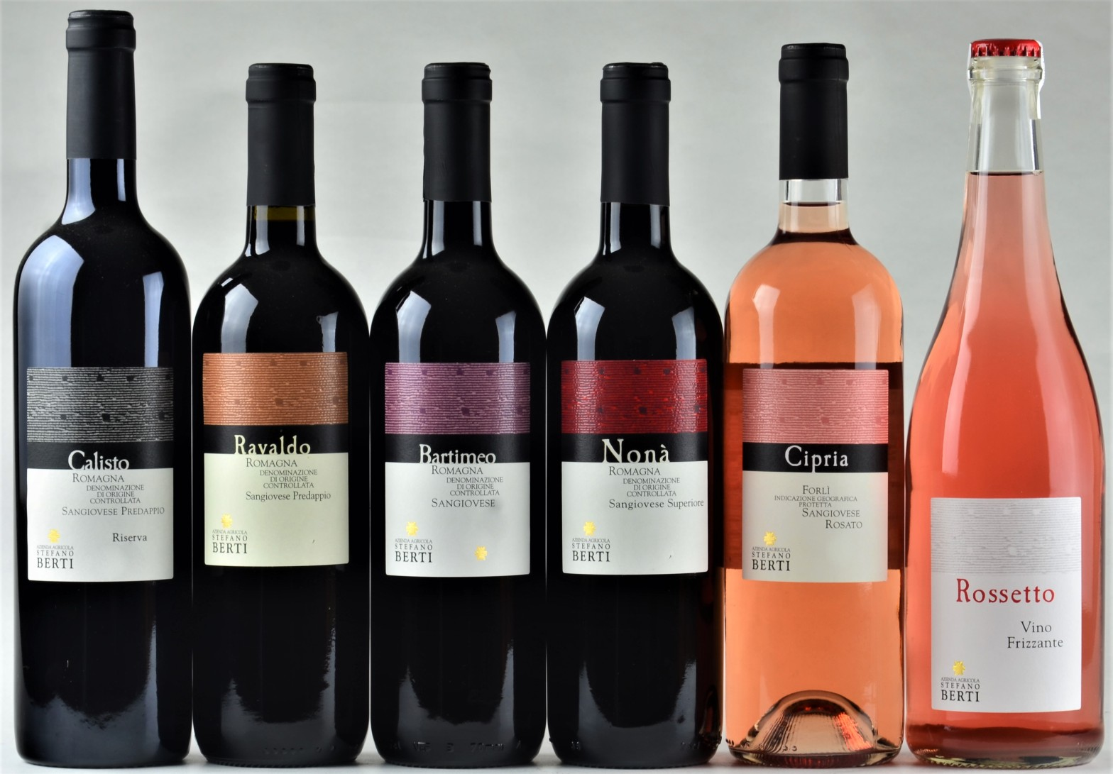I vini da uve sangiovese prodotti nell'azienda Stefano Berti a Predappio : Calisto, Ravaldo , Bartimeo , Nonà, Cipria e Rossetto.